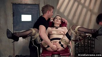 Brunette slave trained with electricity