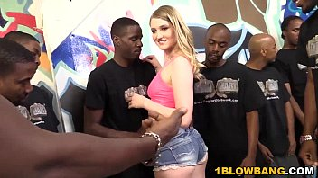 Interacial bukkake Summer carter gets banged by a group of black men