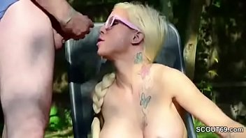 German Teen get Messy Outdoor Bukkake by Many Stranger