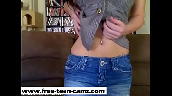 Sweet Brunette Teen Sexy Couch Striptease - www.free-teen-cams.com