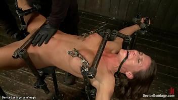 Babe in device bondage machine anal