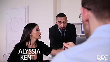 Business meeting with hot Milf Alyssia Kent leads to double penetration 12 min