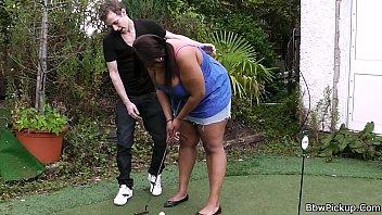 Ebony BBW gets pounded by a golf coach