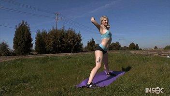 Shy blonde workout girl endures lezdom shaming