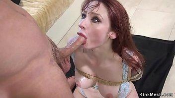 Clamped nipples redhead anal banged