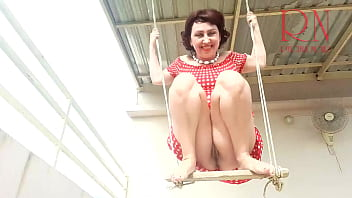 Depraved Cute housewife has fun without panties on the swing. Slut swings and shows her perfect pussy. Close-up pussy. Close-up cunt. Pull up your skirt. Upskirt pussy no panties. No panties outdoors.