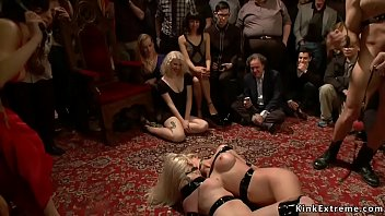 Blonde slaves are whipped and fucked