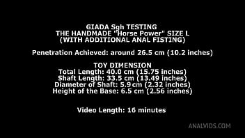 Giada Sgh Tests the Horse Power Handmade Dildo Size L and gets 26.5cm (10.4 inches) up her ass with Anal Fisting TWT008 99 sec