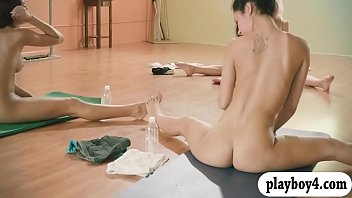 Women nude fitness Sexy babes and trainer hot yoga session while theyre naked