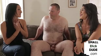 British CFNM babes humiliate micro penis guy