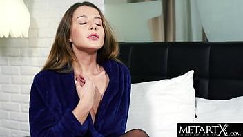 Stunning brunette in black stockings masturbates to a wild orgasm
