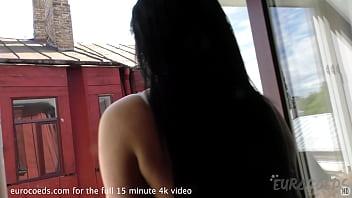 18yo milania smoking naked in bedroom window then showering 6 min