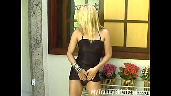 Hot blond tranny dances and toys her ass