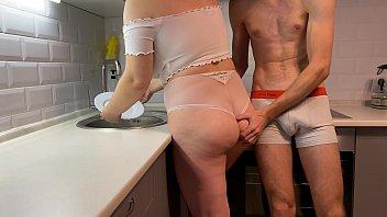 Hot blonde step-sister fucks while washing dishes ep.2