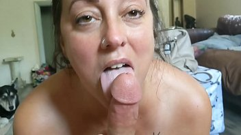 Mature wife drinks cum Wife sucks cock and drinks cum with tits out