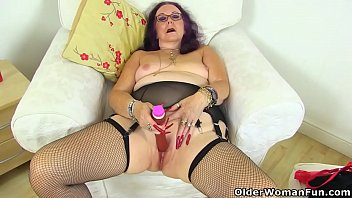 British granny Zadi's old fanny still enjoys a dildo filling