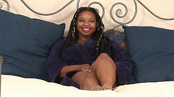 Big titty amateur ebony BBW rubs her hairless pussy 10 min