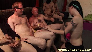 Emo Teen In Her First Gangbang