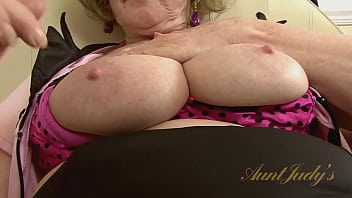 AuntJudys - Busty 62yo Amateur GILF Pearl gets off after work at the diner (AJ Classics)