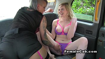 Hot blonde rimming female fake taxi driver