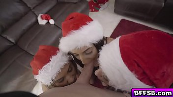 Sexy babes enjoys a hot Christmas group fuck