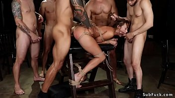 Sexy slaves in love Bound slut in gangbanged on wooden horse