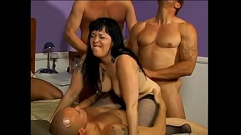 Nasty mom with raven hair and big boobs C.J. Bennett got her ass burning after four stallions have been destroying it for an hour