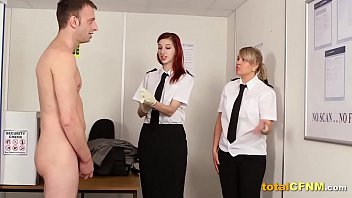 Airport  Security Gals Give a Passenger a Blowjob
