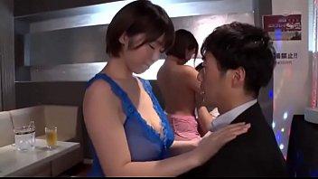 青ドレスの激カワ美人ホステスがリーマンに跨って美乳を揉ませてベロチュー image