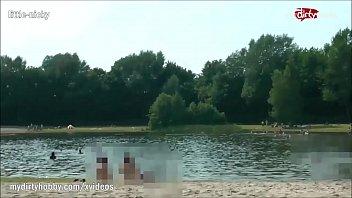MyDirtyHobby - Teen redhead babe squirts on a public beach