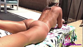 Girlfriend naked at the pool filmed when she sucks cock