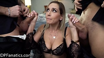 DPFanatics Hot Girl With Big Tits Gets Double-Pleasured Deep With Cumshots