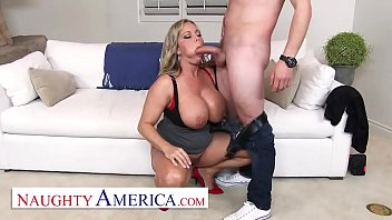 Naughty America - Amber Lynn Bach craves a Creampie from a young buck when she catches him taking photos of her 12 min