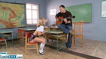 Schoolgirl teen fucked in the ass by her guitar teacher