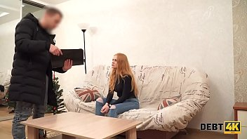 Debt4k. Remarkable teen dollface has passionate sex with loan collector