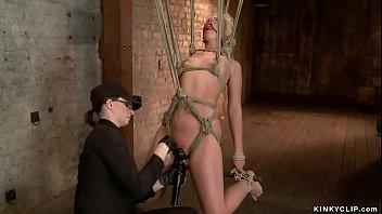 Gagged bound lesbian vibrated