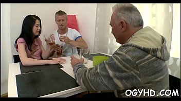 Cute young gal drilled by old chap