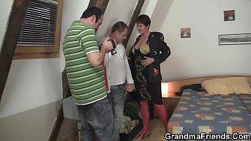 Hairy granma in red lingerie