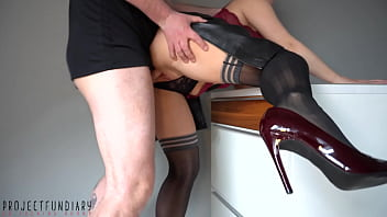 naughty housewife in leather skirt and stockings wants to be fucked hard - stinky cum mess on skirt - projectfundiary