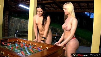 Nude tranny thumbs Tranny babes play a game all nude and have foursome sex