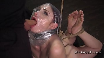 Tied up sub throat and anal fucked