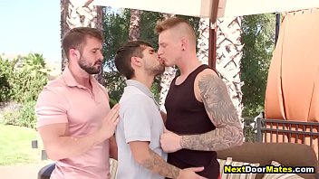 """Hunks fuck gay waiter with their big cocks in a threesome <span class=""""duration"""">7 min</span>"""