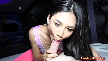 Asian Shemale Nonny Blowjob And DoggyStyle Anal