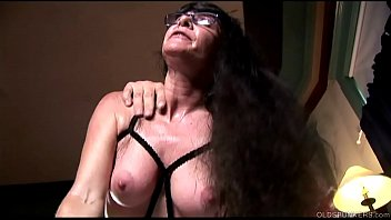 Leg sexy silk stocking thumbnail - Horny old spunker in sexy lingerie loves a sticky facial cumshot