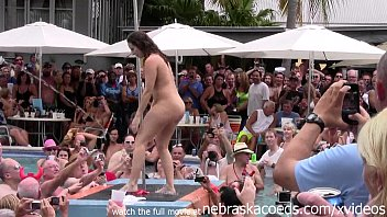 Girls strip contest - Wild milfs stripping down naked in pool hot body strip contest