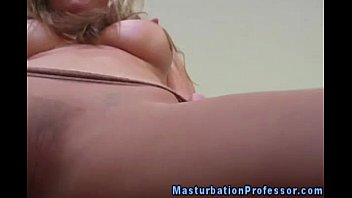 Blonde nylons babe flashing her pussy