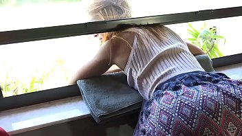 Stepdaughter barebacked by dad while stuck on window