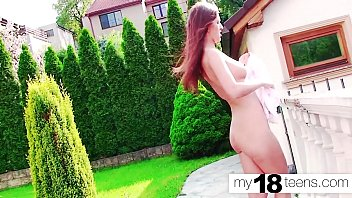 MY18TEENS - Horny Brunnete Show Pussy and Fucking her on street! - Public Masturbate صورة