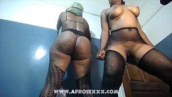 Sexy African girls naked dance with pantyhose