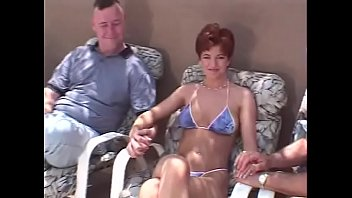 Sherry bikini - Short hair redhead swinger 3some